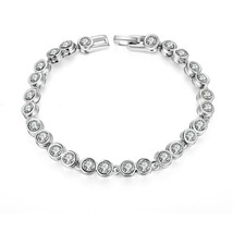 "Vintage Clear Crystal/Rhinestone Tennis Bracelet Single Row Silver Tone 7"" - $9.99"