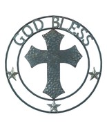 "GALVANIZED CROSS WALL DECOR Country Americana 24"" Silver Metal Plaque - $32.71"