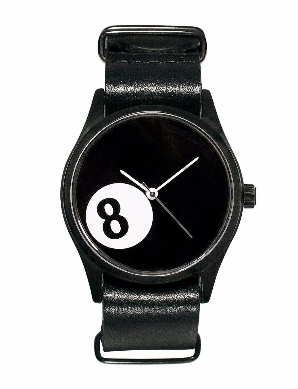 Cheapo CHPO cheapo 8 Ball Pool Black Leather Strap 14227SS Analog Wrist Watch