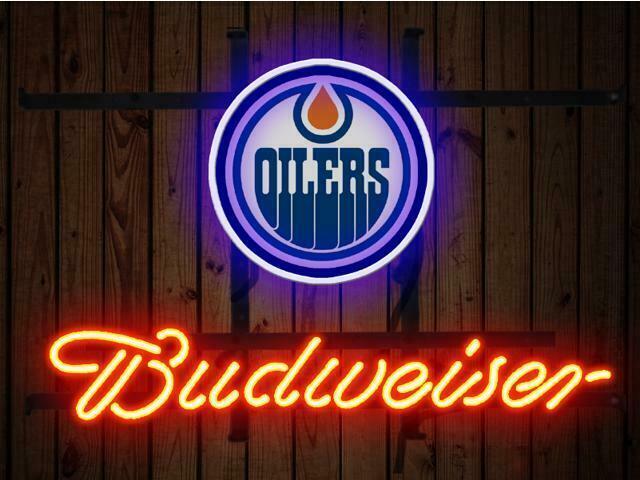 "Budweiser Edmonton Oilers Neon Sign 14""x10"" Beer Bar Light Artwork Cave"