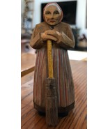 Antique Hand Carved Painted Wood Old Woman with Broom Figurine - $36.58