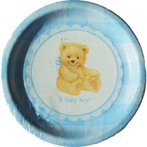 Sweet Bear Blue Baby Shower Lunch Plates 8 Per Package Party Supplies NEW - $4.90