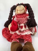 "Vintage 1983 Dakin Francis Anne Klocko Rag Doll Stuffed Valentine Red Heart 22"" - $20.56"