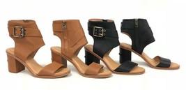 UGG Australia Claudette Leather Heeled Sandals Almond Black Side Buckle 1090433 - $59.99