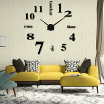 Modern DIY Analog 3D Mirror Surface Large Size Wall Clock Sticker Home D... - $18.04