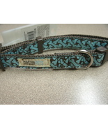 "MARTHA STEWART PETS 15"" Dog Collar Brown with Teal Doggie Bones SIZE SMALL - $10.99"