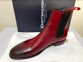 Handmade Men's Burgundy Burnished Toe High Ankle Chelsea Leather Boot image 3