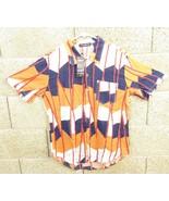 Men's XL Multi Color Button Down Linen Skater Style Shirt W/ Pocket New -N2 - $13.99