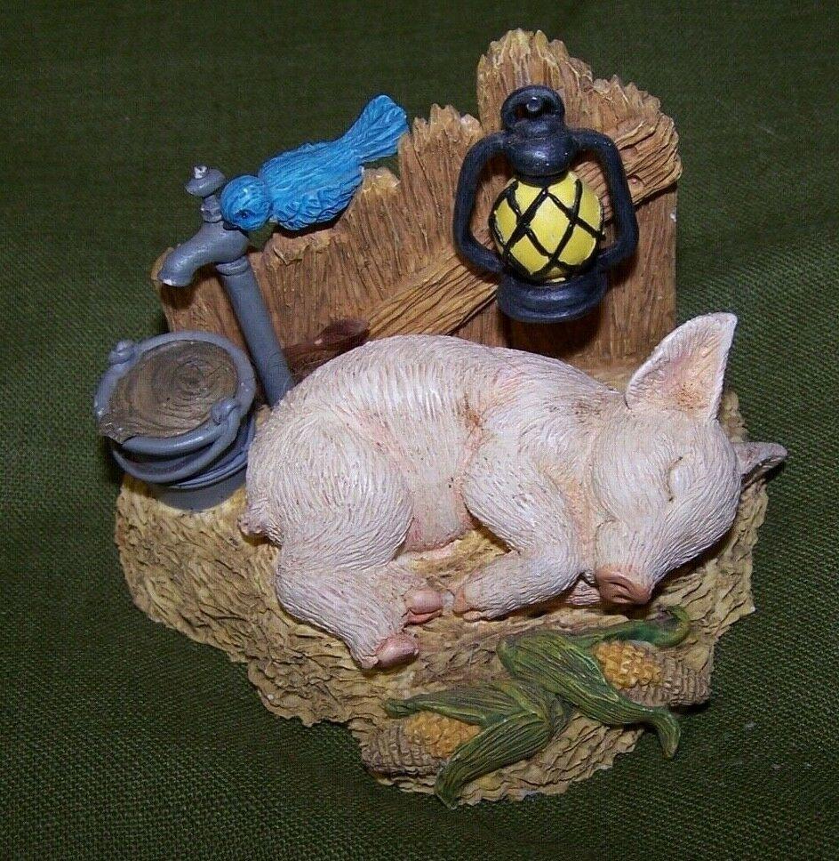 "Hamilton Collection Resin Pig Figure- HITTIN' THE HAY - Farm Livin"" - Small Flaw - $10.99"