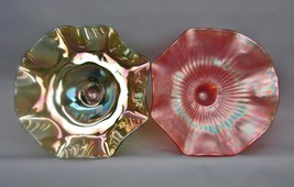 Northwood DAISY & PLUME Marigold & Green Carnival Glass SHELFER Candy Di... - $40.50