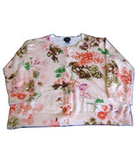 Beaded Sweater Coral Bronze Watercolor Floral Peach 1980s Fashion Cardig... - $28.00