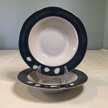 Set of 2 Pier 1 White Blossom Beige Black Rimmed Pasta Bowls Leaves - $19.79