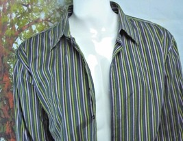 GAP Fitted Premium -Olive Green-Purple -STRIPED-BUTTON-DOWN-SHIRT-S-2XL image 2