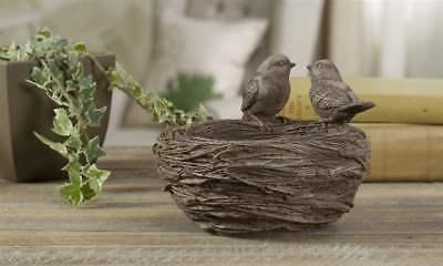 "Bird Nest Design Flower Pot Polystone 7.4"" x 5.6"" Features Two Birds on Nest"
