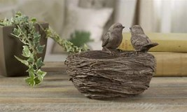 "Bird Nest Design Flower Pot Polystone 7.4"" x 5.6"" Features Two Birds on Nest"