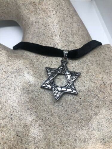 Vintage Deco Star Of David Pendant Choker Necklace Stainless Steel
