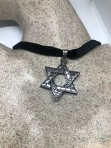 Vintage Deco Star Of David Pendant Choker Necklace Stainless Steel - $54.45