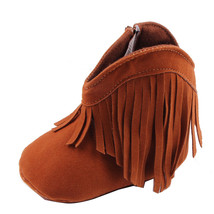 NEW Brown Faux Suede Fringe Cowboy Boots Baby Crib Shoes 0-6 6-12 12-18 M - £6.13 GBP