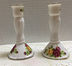 Vintage COTTAGE ROSE Fine Bone China Taper Candle Holders Hand Painted - $12.50
