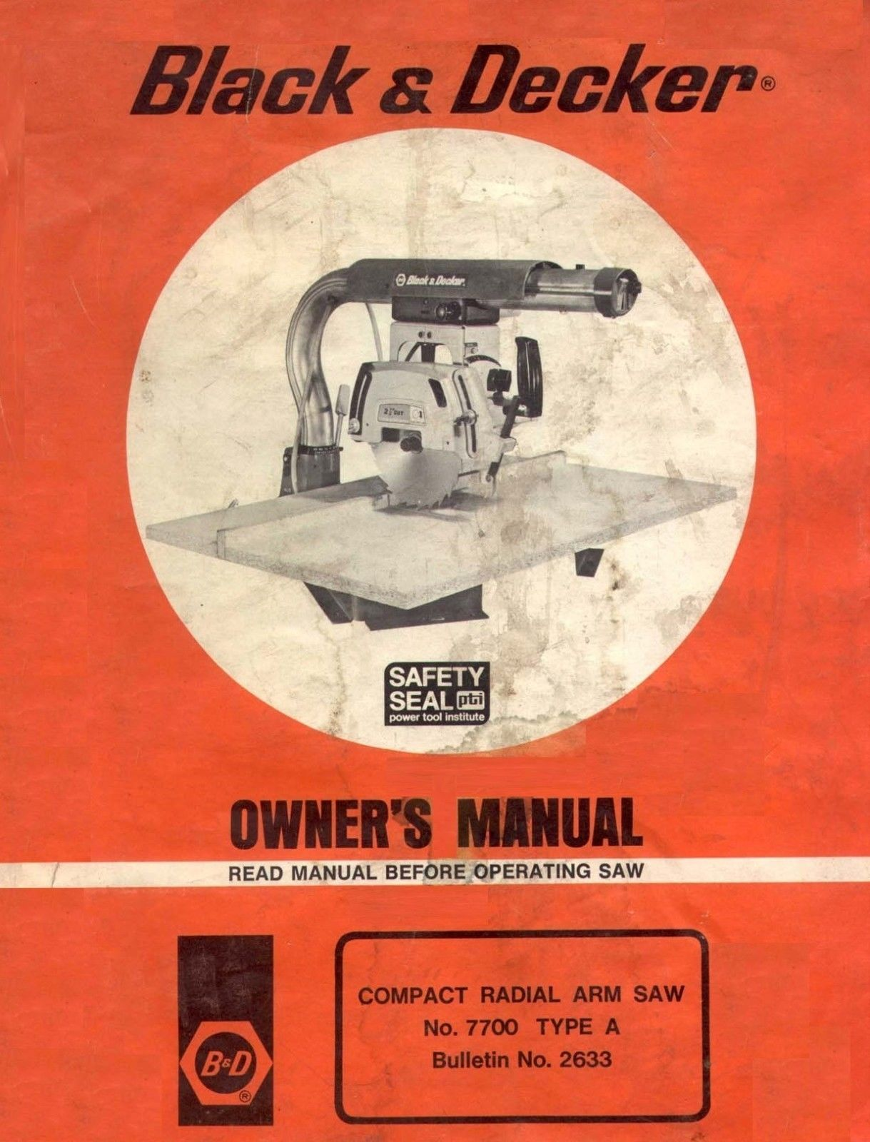 Black and Decker #7700 Compact Radial Arm Saw Type A Owners Manual * CDROM * PDF for sale  USA