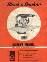 Black and Decker #7700 Compact Radial Arm Saw Type A Owners Manual * CDR... - $8.81