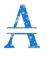 ABC Set1 Split Letter Monogram-Digital ClipArt-Snow-Gift Tag-Christmas-S... - $10.00