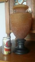 "LARGE ART GLASS URN FLOWER VASE - 14.5"" AMBER STIPPLED TEXTURED ON DARK ... - $115.20"