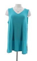 H Halston Slvless V-neck Top Mesh Trim Aqua Blue M NEW A288323 - $23.74