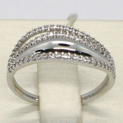 SOLID 18K WHITE GOLD BAND ZIRCONIA RING, ONDULATE, WAVE, LUMINOUS, MADE IN ITALY