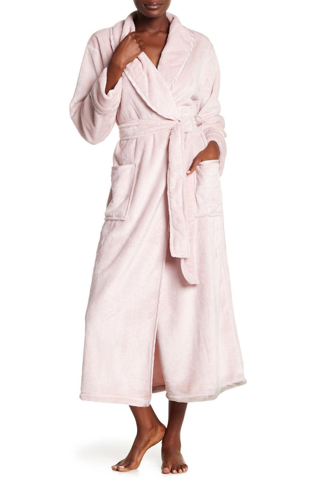 NWT New Natori Pink Faux Fur Robe Womens Long Very Soft Pockets M Dusty Rose Lus
