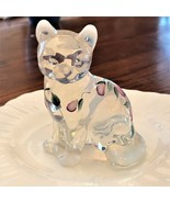Fenton Art Glass Hand Painted French Opalescent Sitting Cat Purple SIGNED MINT - $24.00