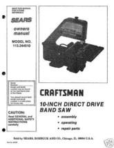 """Craftsman 10"""" Bandsaw Operators Manual 113.244510 - $10.88"""