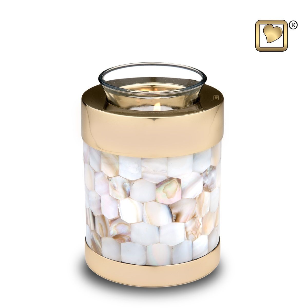 Mother of Pearl Tealight Infant/Child/Pet Funeral Cremation Urn, 18 Cubic Inches