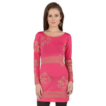 Ira Soleil pink polyester knitted strechable block printed long sleeves ... - $49.99