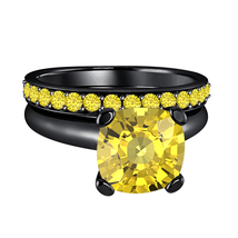Cushion  Yellow Sapphire 14k Black Gold Over .925 Silver Engagement Bridal Ring  - $72.22