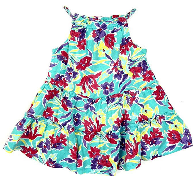 3/3T Girl's Dress Chaps Toddler Spring II Blue Multi-Color Floral Summer