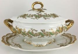 Haviland Limoges Gravy boat & under plate / lid Gold / Green - $115.00