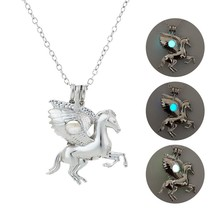 2019 New Glowing Horse Silver Necklace Fashion Luminous Stone Necklace Glow in t - $9.76
