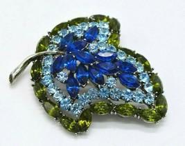 Large Blue Green Rhinestone Leaf Silver Tone High Quality Pin Brooch Vintage - $59.39