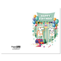 Dog Balloons Birthday Card --- with Custom Handwritten Message - mailed to yo... - $2.23