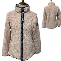 Women's Bebe Pink Fuzzy Sherpa Zip Up Fleece Jacket w/ pockets Size M - $24.75