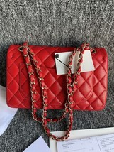 AUTH BNWT CHANEL 2019 RED CAVIAR QUILTED MEDIUM DOUBLE FLAP BAG GHW RECEIPT image 3