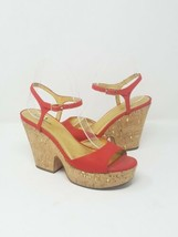 Kate Spade women 7 red open toe cork platform heels sandals - $54.45