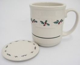Longaberger Holly Woven Traditions Mug and Coaster Pottery USA Very Good - $19.79