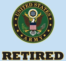 """United States Army Retired Crest 4.25""""x4.25"""" Decal - $12.42"""
