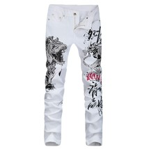 SHANGPIN New Arrival Men's Tiger Animal Printed Jeans Fashion Slim White... - $54.06