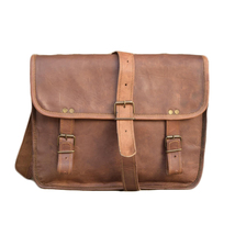 "13"" 100% Pure Leather Brown Office Shoulder Laptop Office  Unisex Bag - $58.89"