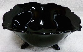 """Mt Pleasant Black Amethyst 3 Footed 5 1/2"""" Triangle Mayonnaise Bowl Smith Glass - $29.99"""