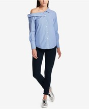 DKNY Womens Blue Striped One Shoulder Button-Down Top Shirt L  - $89.00