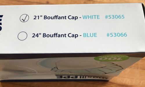 """Maxill Bouffant Caps Sealed Boxes 100 Count 21"""" White Disposable Brand New"""
